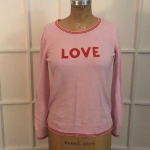 Old Navy pink LOVE intarsia knit cotton sweater S